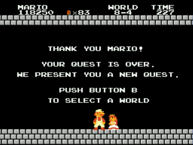Super Mario Bros - Genesis - Ending  - Yay! - User Screenshot